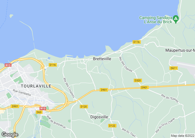 Map for Normandy, Manche, Bretteville