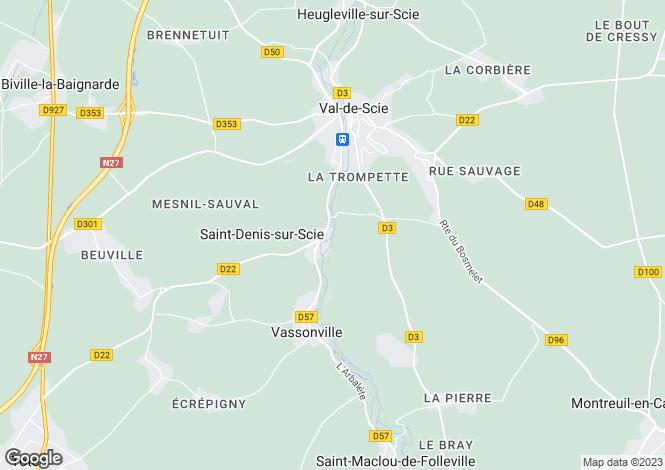 Map for auffay, Seine-Maritime, France
