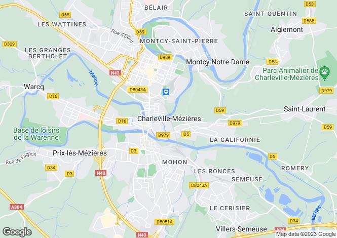 Map for charleville-mezieres, Ardennes, France