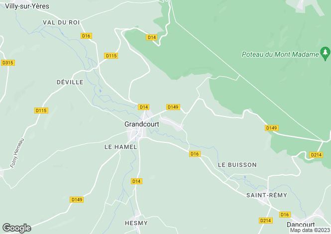 Map for grandcourt, Seine-Maritime, France