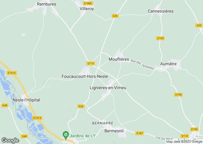 Map for foucaucourt-hors-nesle, Somme, France