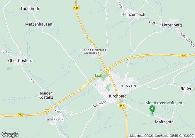 Map for Rhineland-Palatinate, Kirchberg (Hunsr�ck)