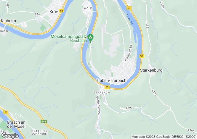Map for Rhineland-Palatinate, Traben - Trarbach