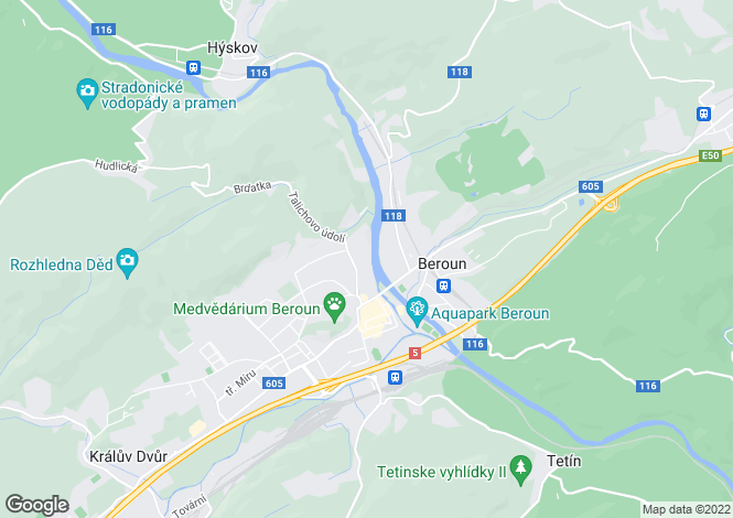 Map for Central Bohemian Region, Beroun, Beroun