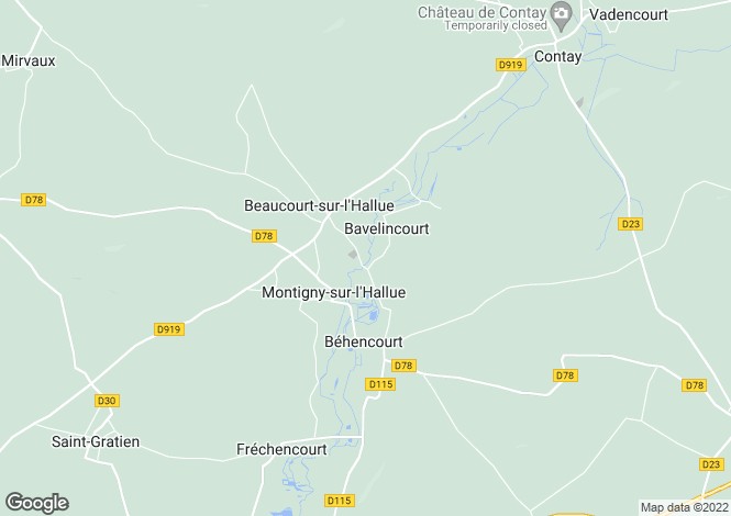 Map for Picardy, Somme, Bavelincourt
