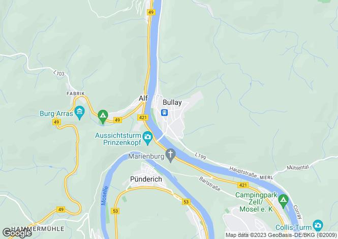 Map for Rhineland-Palatinate, Bullay