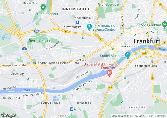 Map for Frankfurt am Main, Darmstadt, Hesse
