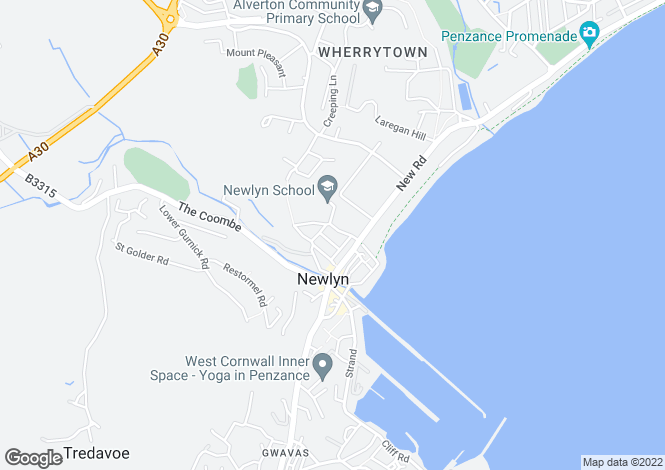 Map for Carne Road, Newlyn, Penzance TR18