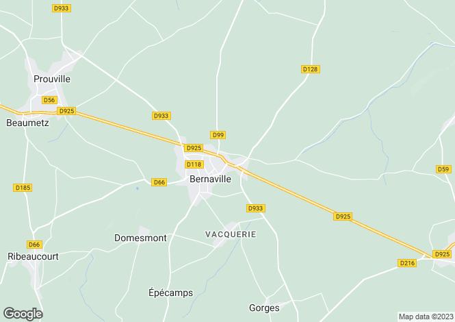 Map for bernaville, Somme, France