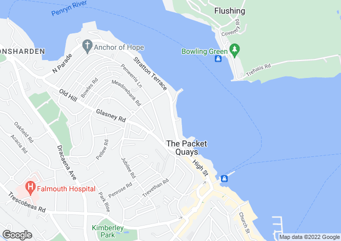 Map for Falmouth Harbour, South Cornwall, TR11