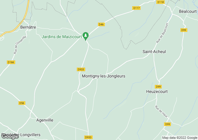 Map for Picardy, Somme, Montigny-les-Jongleurs
