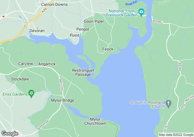 Map for Restronguet Point, Feock, Truro, South Cornwall, TR3