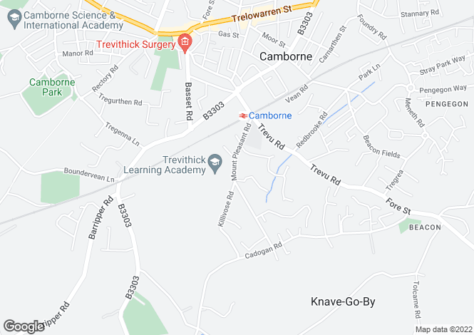 Map for Mount Pleasant Road, Camborne TR14