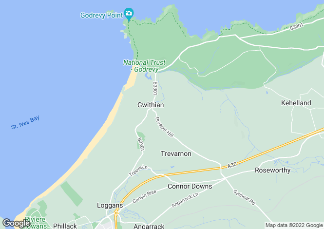 Map for Prosper Hill, Gwithian, Hayle, Cornwall, TR27