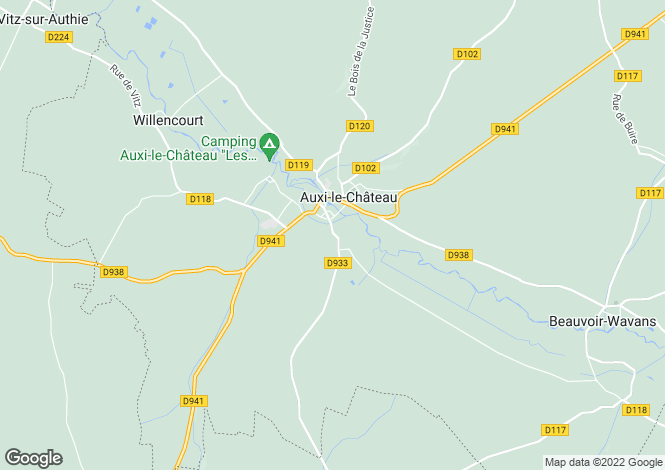 Map for auxi-le-chateau, Pas-de-Calais, France