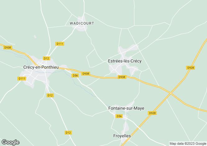Map for Picardy, Somme, Estrées-lés-Crécy