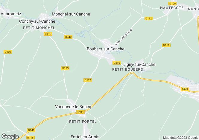 Map for Boubers-sur-Canche, Pas-de-Calais, Nord-Pas-de-Calais