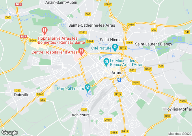 Map for arras, Pas-de-Calais, France
