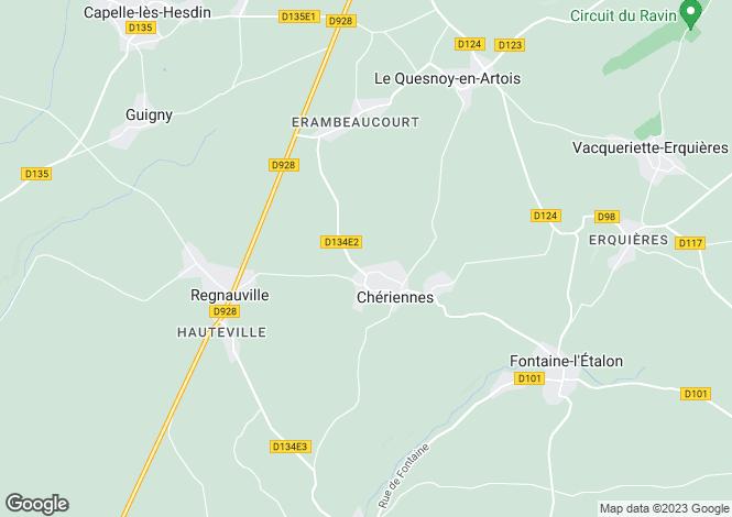 Map for Cheriennes, Pas de Calais, Hauts de France