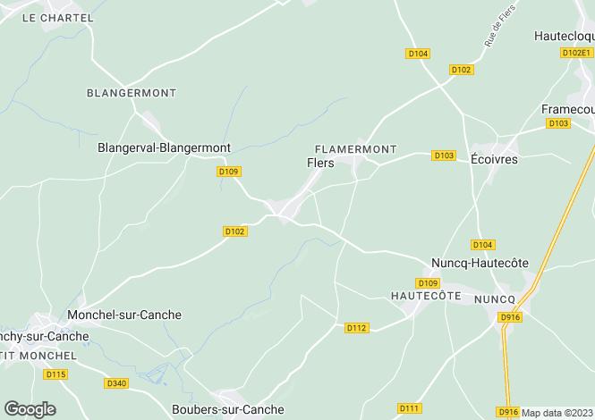 Map for Nord-Pas-de-Calais, Pas-de-Calais, Flers