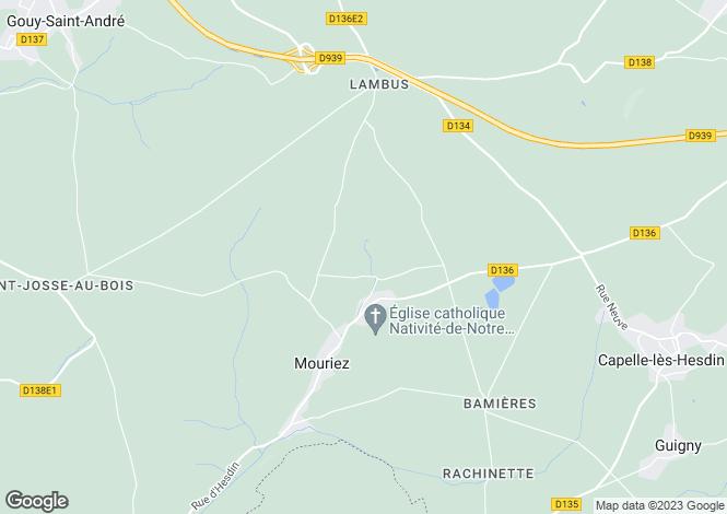 Map for Mouriez, Pas-de-Calais, Nord-Pas-de-Calais