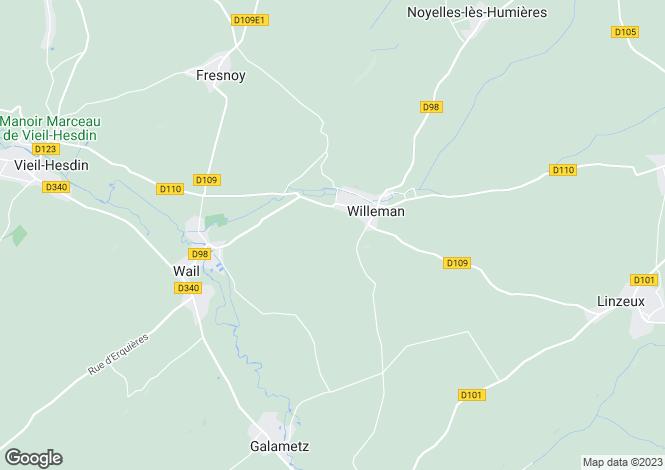 Map for Nord-Pas-de-Calais, Pas-de-Calais, Willeman