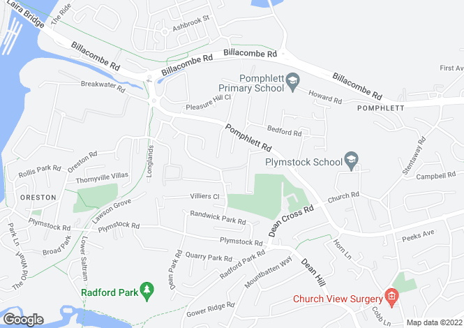 Map for Rocky Park Road, Plymstock, Plymouth PL9