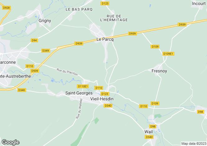 Map for Nord-Pas-de-Calais, Pas-de-Calais, Vieil-Hesdin