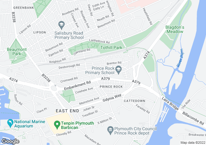 Map for Florence Place, Plymouth