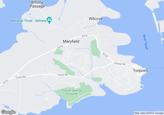 Map for Carlyon Close, Torpoint, Cornwall