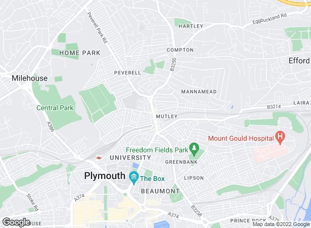 Map for Bradleys, Plymouth - Mutley Plain