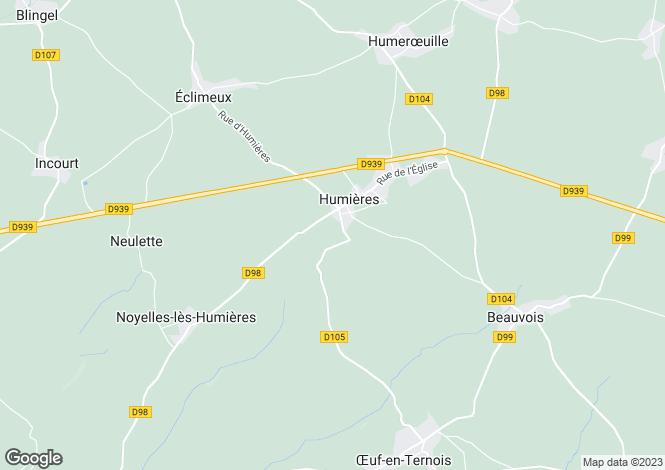 Map for Humières, Pas-de-Calais, Nord-Pas-de-Calais