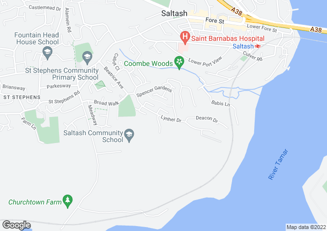 Map for Lynher Drive, Saltash