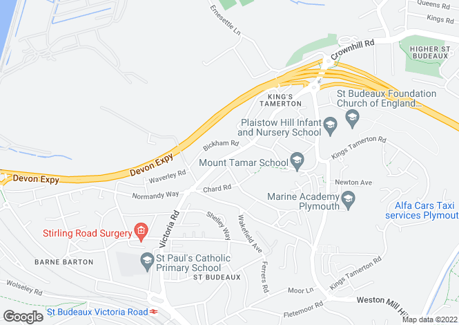 Map for Victoria Road, St Budeaux, PL5 1QU
