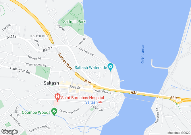 Map for Home Park Road, Saltash