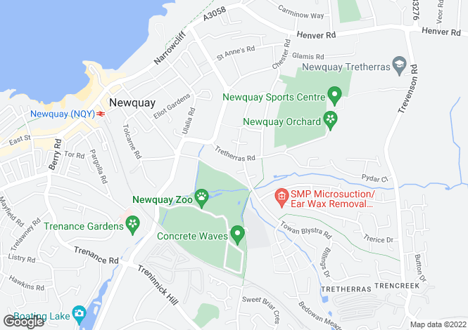 Map for Tretherras Road, Newquay