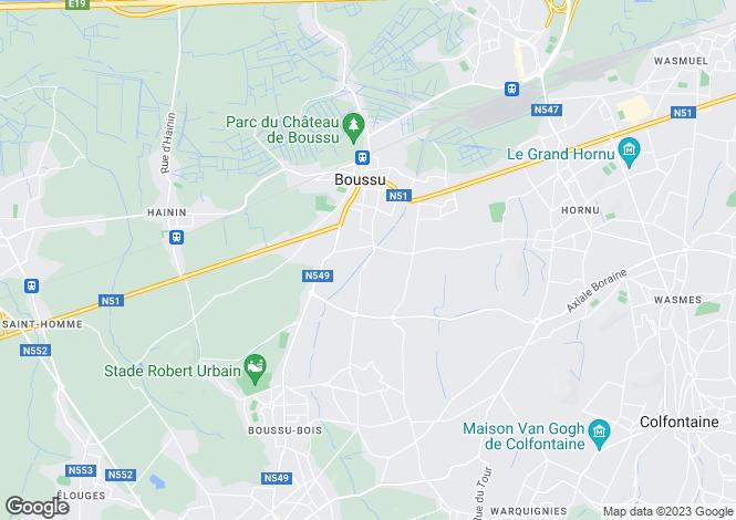 Map for Hainaut, Mons, Boussu