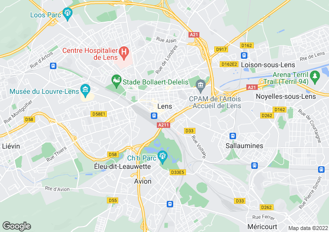 Map for lens, Pas-de-Calais, France