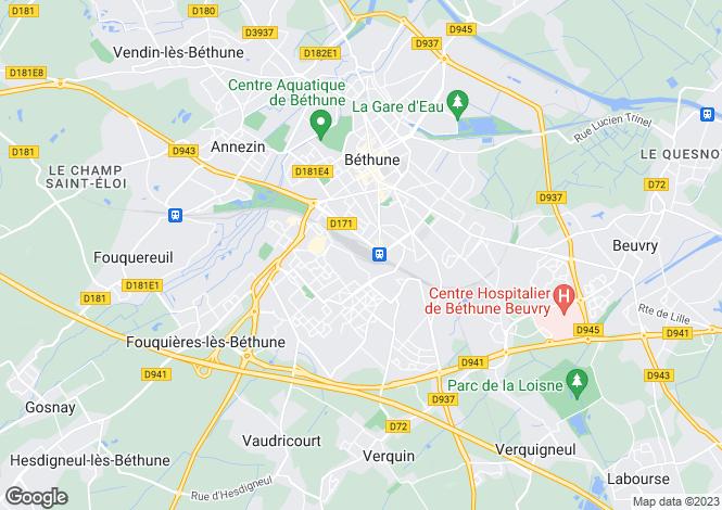 Map for bethune, Pas-de-Calais, France