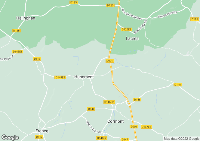 Map for Nord-Pas-de-Calais, Pas-de-Calais, Hubersent