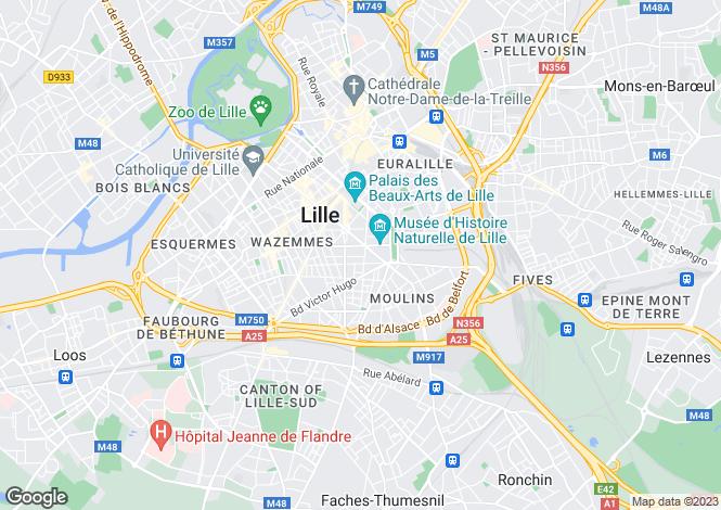 Map for Nord-Pas-de-Calais, Nord, Lille