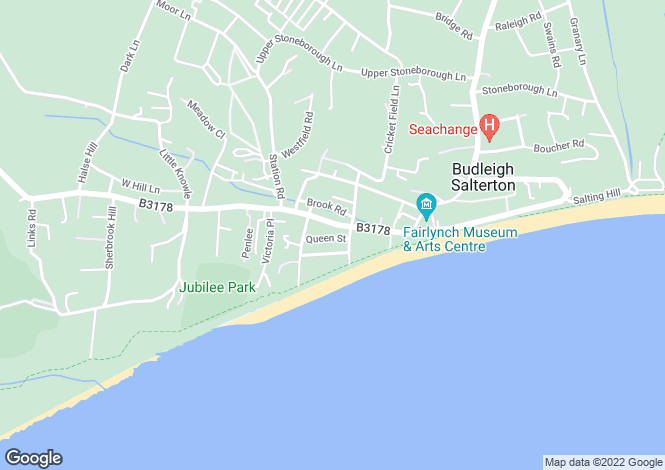 Map for Queen Street, Budleigh Salterton, Devon