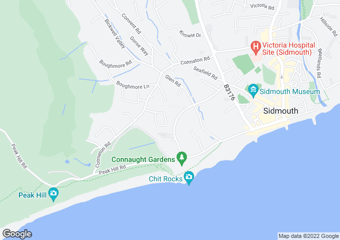 Map for Manor Road, Sidmouth