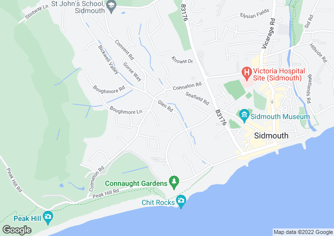 Map for Glen Close House, Glen Road, Sidmouth, EX10