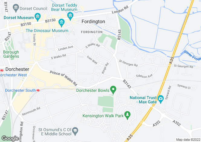 Map for Fordington House, Dorchester, Dorset