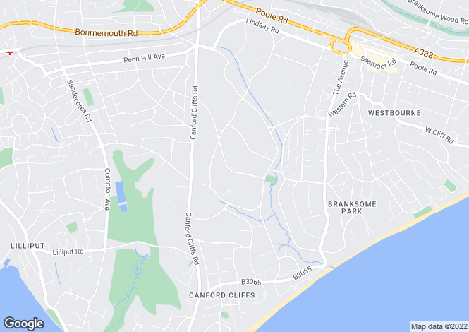 Map for Western Avenue, Branksome Park, Dorset