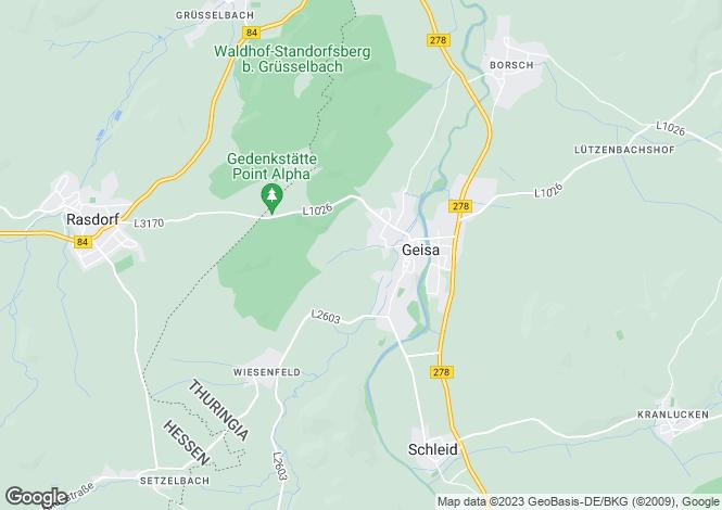 Map for Geisa, Thuringia