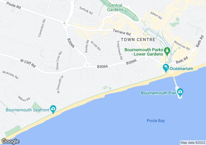 Map for West Cliff Road, Bournemouth