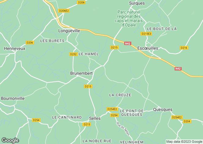 Map for Brunembert, Pas-de-Calais, Nord-Pas-de-Calais