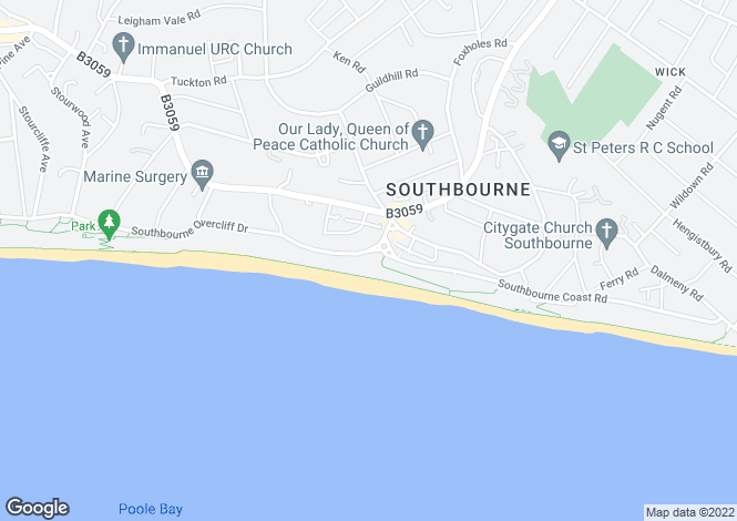 Map for Southbourne Overcliff Dri, Southbourne